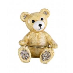 Caseta de bijuterii din metal emailat cu un ursulet