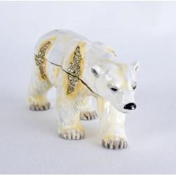 Caseta de bijuterii din metal emailat cu un urs polar