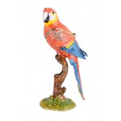 Caseta de bijuterii din metal emailat cu un papagal