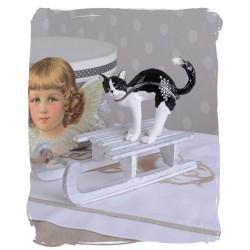 Caseta de bijuterii din metal emailat cu o pisicuta alb cu negru