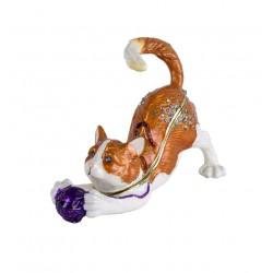 Caseta de bijuterii din metal emailat cu o pisicuta cu ghemul