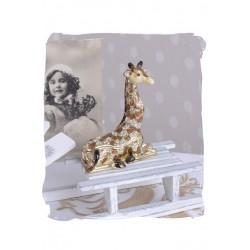 Caseta de bijuterii din metal emailat cu o girafa