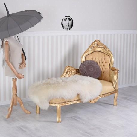 Sofa din lemn masiv auriu cu tapiterie din matase aurie