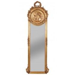 Oglinda Jugdenstill din cristal cu o rama aurie si medalion cu ingerasi