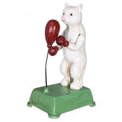 Figura din fonta cu o pisica boxer