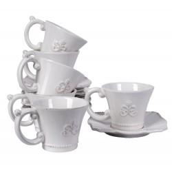 Set ceai victorian din portelan alb pentru 6 persoane