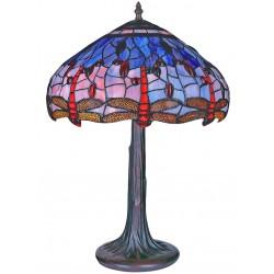Lampa Tiffanny din bronz cu abajur din sticla cu libelule