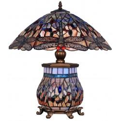 Lampa Tiffanny mare din bronz cu abajur din sticla cu libelule