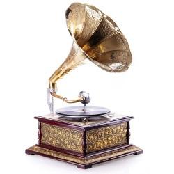 Gramofon deosebit placat cu incrustratii metalice aurii