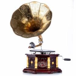 Gramofon hexagonal din lemn mahon cu decoratiuni aurii