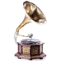 Gramofon hexagonal placat cu incrustratii metalice aurii