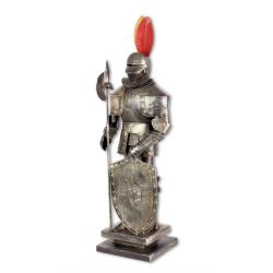 Armura mica argintie de cavaler  medieval cu scut si lance