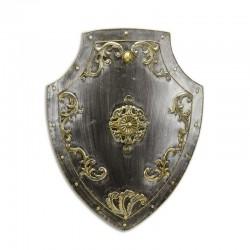 Platosa argintie  din fier forjat antichizat  cu decoratiuni aurii