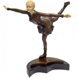 Patinatoare-statueta bronz pe un soclu din marmura