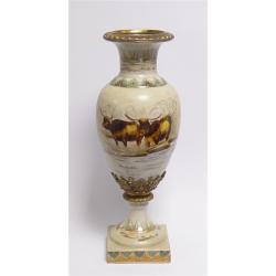 Vaza aurie din portelan cu bronz