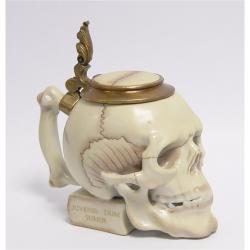 Bomboniera craniu din portelan cu bronz