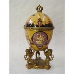 Bomboniera ou din portelan cu leuti din bronz