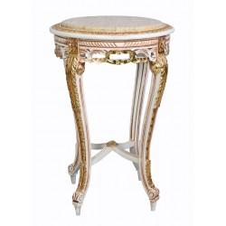 Masa din lemn masiv alb antichizat  cu decoratiuni aurii