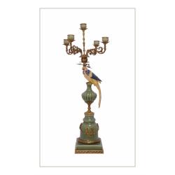 Sfesnic papagal cu cinci brate din portelan cu bronz
