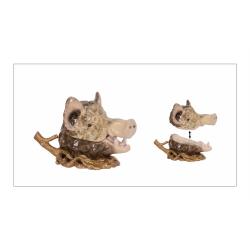Bomboniera porc mistret din portelan cu bronz