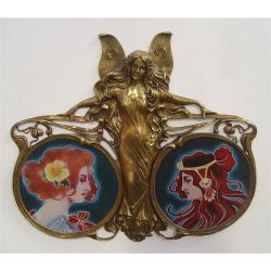 Platou dublu Art Nouveau din portelan cu bronz