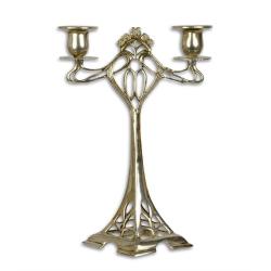 Sfesnic din bronz argintiu cu doua brate
