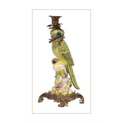 Sfesnic papagal din portelan cu bronz