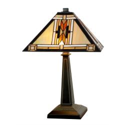 Lampa Tiffany din bronz cu motive geometrice