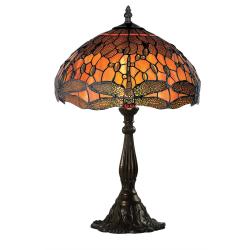 Lampa Tiffany din bronz cu libelule portocalii