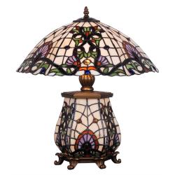 Lampa Tiffany cu motive orientale si picioruse din bronz