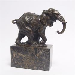 Elefant mergand-statueta din bronz pe un soclu din marmura