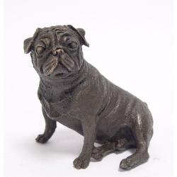 Caine boxer sezand-statueta din bronz