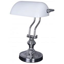 Lampa Banker din alama argintata cu abajur din sticla alba