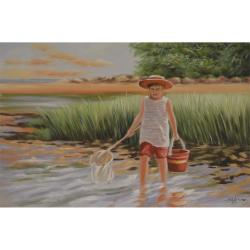 Copil la pescuit- pictura in ulei