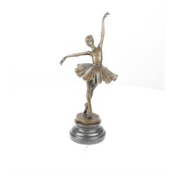 Balerina-statueta din bronz pe un soclu din marmura