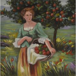 Femeie cu un cos de mere- pictura in ulei