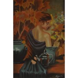 Femeie dezgolita - pictura in ulei