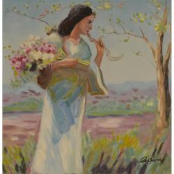 Femeie cu un brat de flori-pictura in ulei