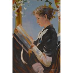 Femeie citind- pictura in ulei