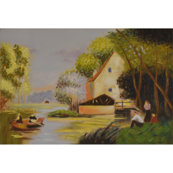 Peisaj cu o casa- pictura in ulei