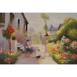 Mama cu doi copii- pictura in ulei