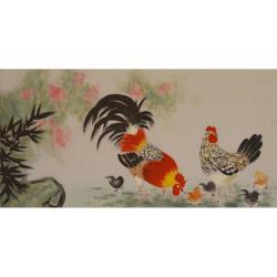 Familie de gaini- pictura in ulei