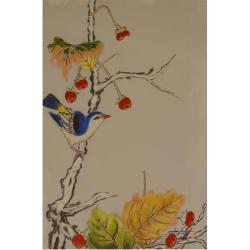 Pasarica  albastra pe un ram -pictura in ulei