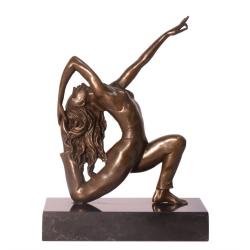 Dansatoare-statueta din bronz pe un soclu de marmura