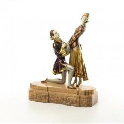 Dragoste vesnica-statueta din bronz pictat