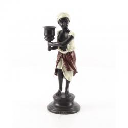 Arab cu o faclie-statueta din bronz pe un soclu din marmura
