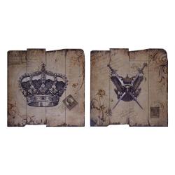 Pereche de tablouase vintage din lemn cu o coroana si o spada