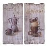 Pereche de tablouri din lemn vintage cu cafea