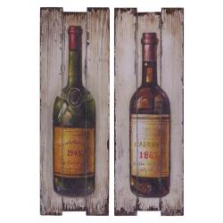 Pereche de tablouri vintage cu vin