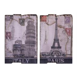 Set doua tablouri pe lemn cu Paris si Italia